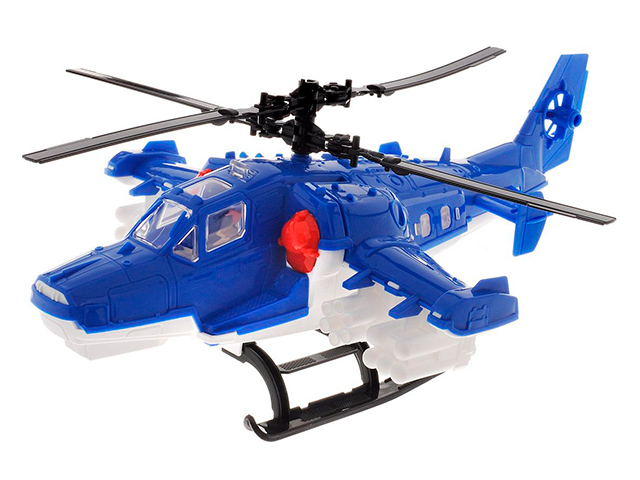 Вертолет Полиция (голубой) пластмас.