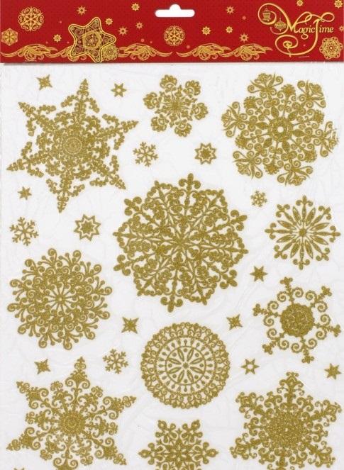 НГ Оконное украшение Снежинки золото