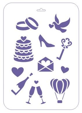 Трафарет 22*31 Свадебные иконки