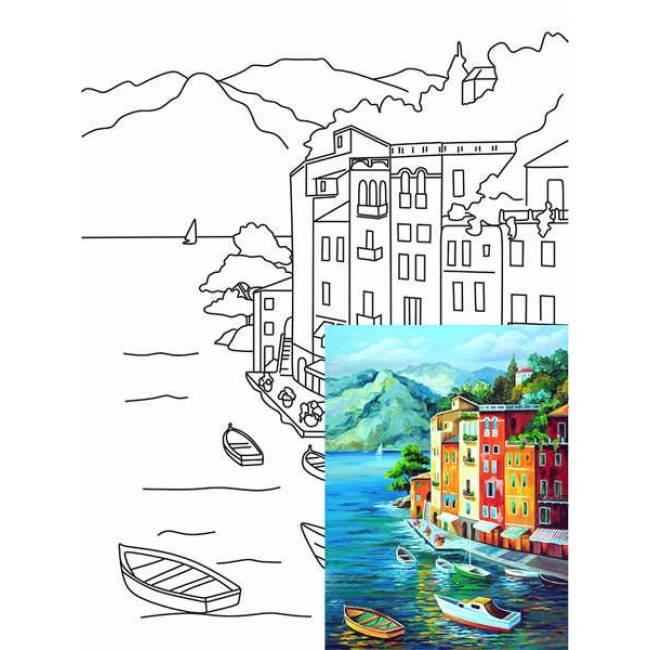 Холст на карт с конт акрил грунт 30х40 Морской пейзаж № 1