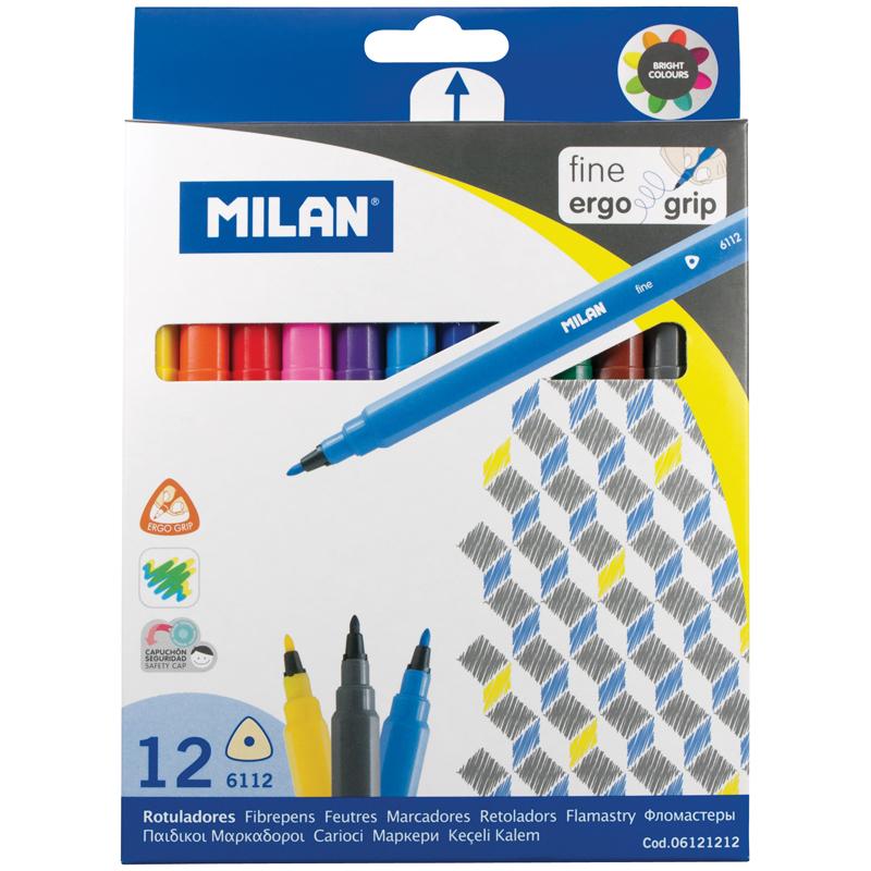 Фломастеры 12 цв Milan 6112 трехгран к/к