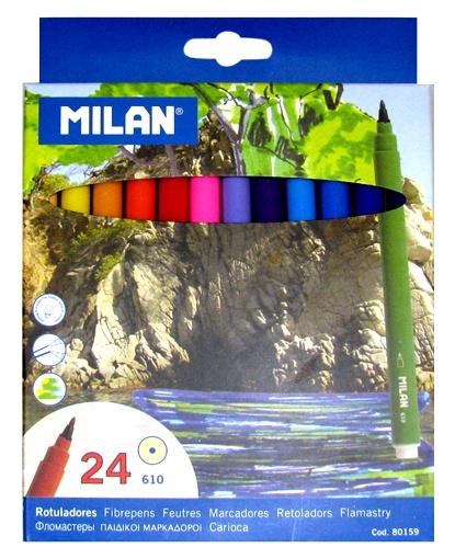 Фломастеры 24 цв Milan 610 смываемые\к/к