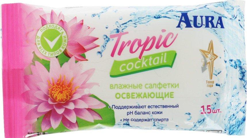 Быт Салфетки влажные 15шт Освежающие Aura Tropic Cocktail