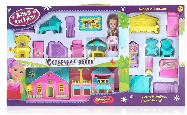 Дом для куклы Солнечная вилла 56х32х6см (кукла 10,5 см, мебель)