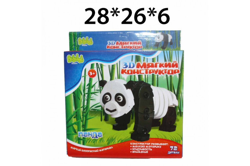 Конструктор мягкий 3D Панда 72 дет.