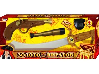 """Набор оружия """"Золото пиратов"""" на батар. свет, звук 4 пр. пластм"""