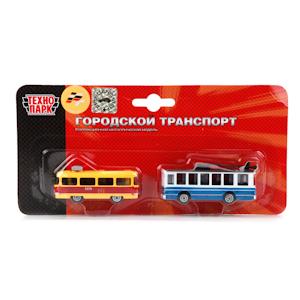 Набор Городский транспорт (2 модели металл.: трамвай + троллейбус)