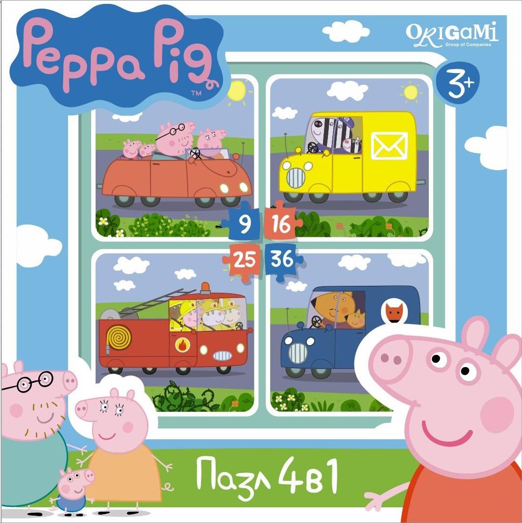 Пазл 9-16-25-36 Origami 01597 Peppa Pig. Транспорт