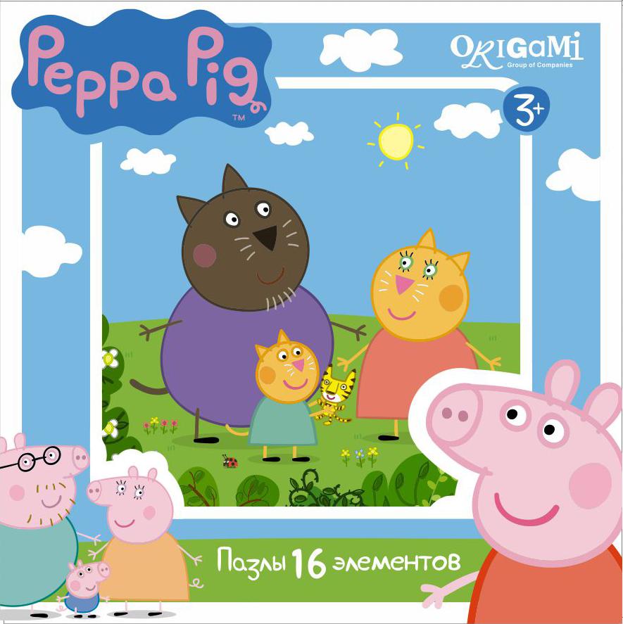 Пазл 16 Origami 01578 Peppa Pig. Котики