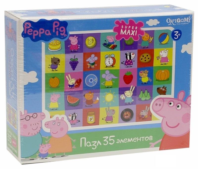 Пазл 35 Origami Super maxi 01546 Peppa Pig. Герои и предметы