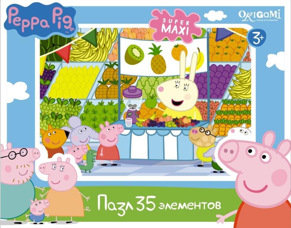 Пазл 35 Origami Super maxi 01547 Peppa Pig. Магазин фруктов