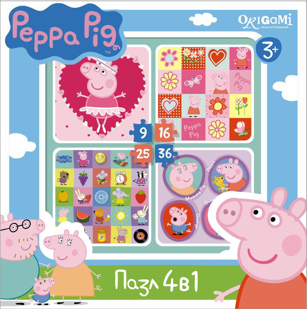 Пазл 9-16-25-36 Origami 01600 Peppa Pig. Герои и предметы