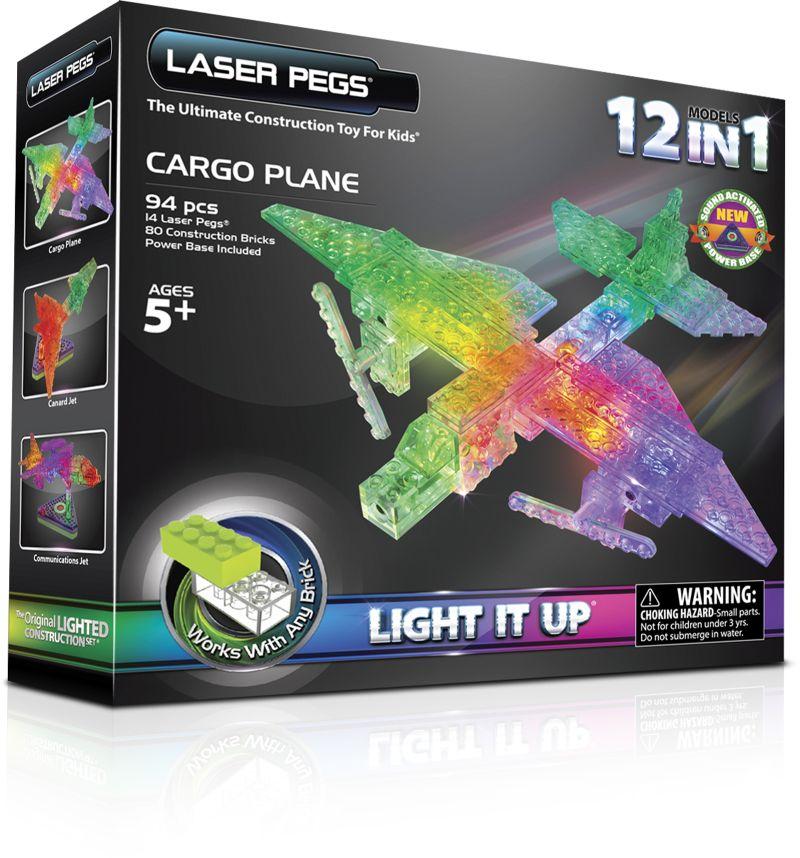 Конструктор Laser Pegs Светящийся Грузовой самолет 12 в 1 пластм., бата