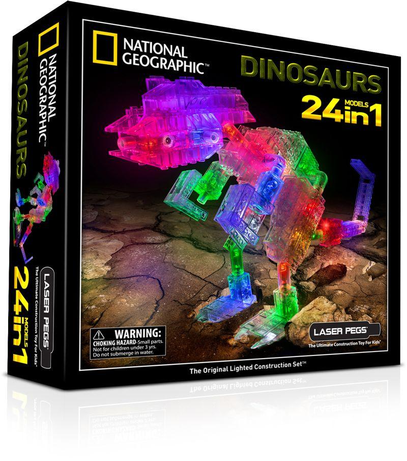 Конструктор Laser Pegs Светящийся Динозавры 24 в 1 пластмас., б