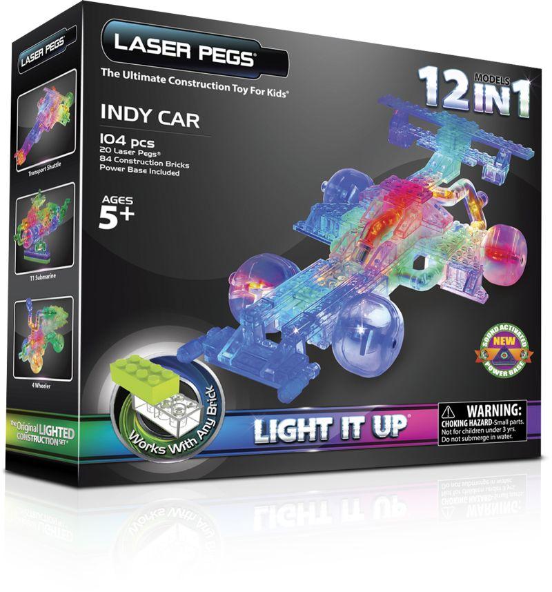 Конструктор Laser Pegs Светящийся Гоночный автомобиль 12 в 1 пласт., ба