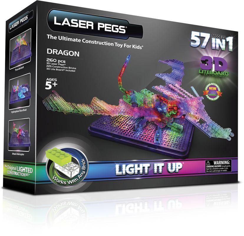 АКЦИЯ19 Игр Конструктор Laser Pegs Светящийся Дракон с 3D-панелью 57 в 1 пл