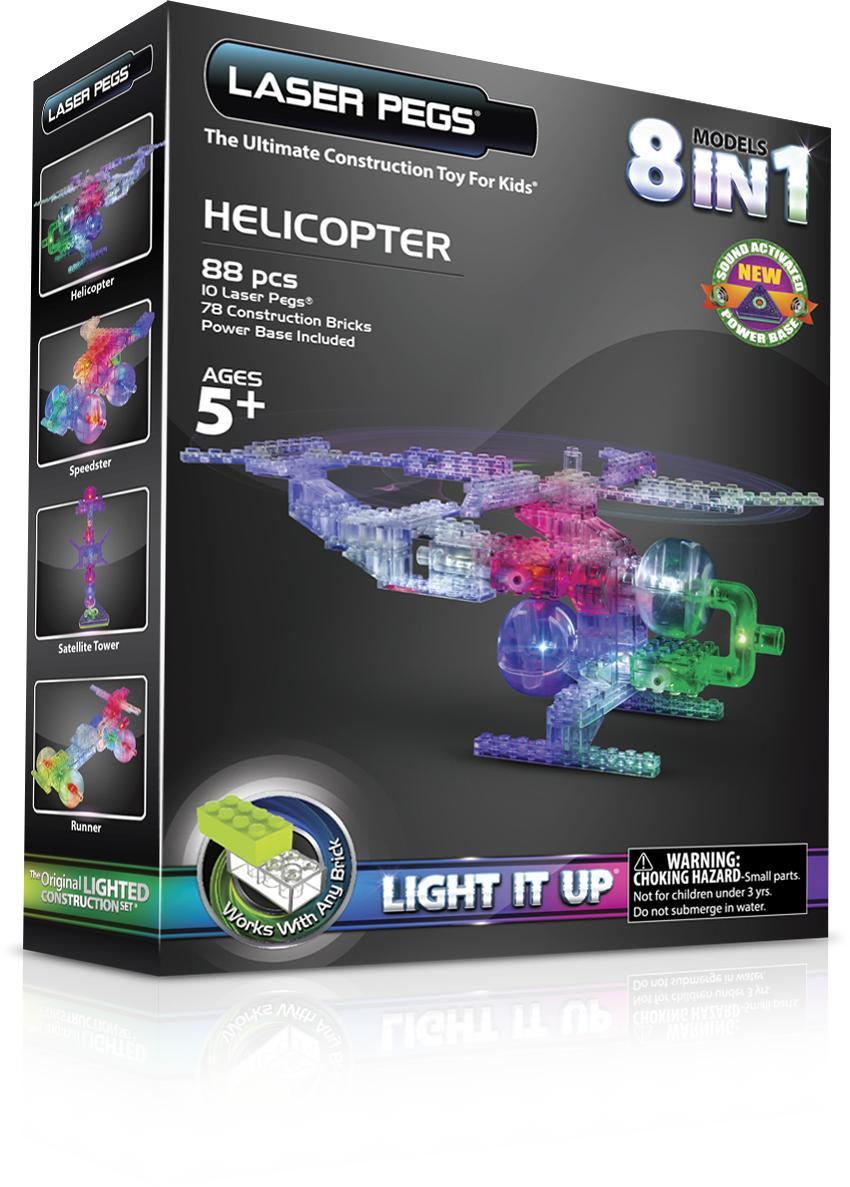 Конструктор Laser Pegs Светящийся Вертолет 8 в 1 пластмас., батар.