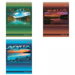 Блокнот А6 40л спир Aqua