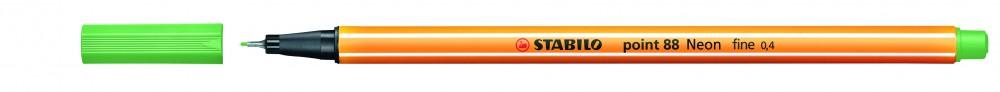 Ручка капиллярная STABILO Point 0.4 зеленая неон