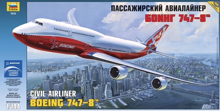 """Сборная модель Пассажирский авиалайнер """"Боинг 747-8"""" 1/144"""
