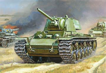Сборная модель Советский танк КВ-1 с пушкой Ф32 1/100