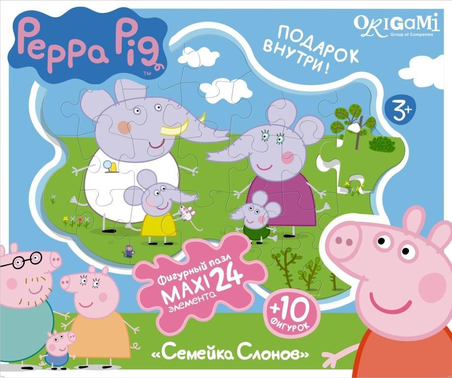 Пазл 24 Origami Maxi 01540 Peppa Pig Семейка слонов с магнитами фигурные