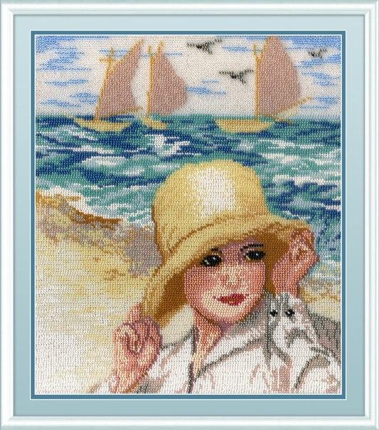 Вышивка бисером 23х29 Дама у моря