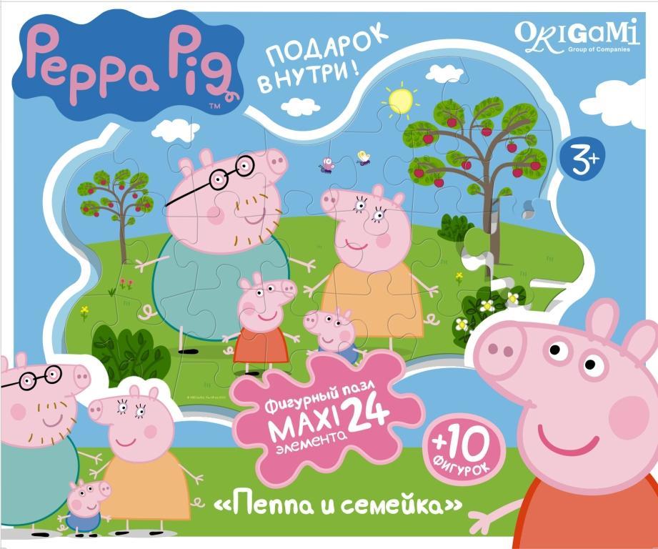 Пазл 24 Origami Maxi 01537 Peppa Pig Семья Пеппы с магнитами фигурные