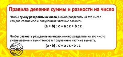 Шпаргалка-карточка Правила деления суммы и разности на число 6*13