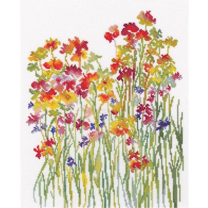 Творч Набор для вышивания крестом 27*33,5 Акварель цветов
