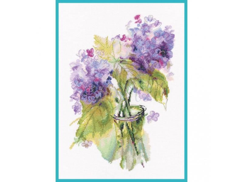 Творч Набор для вышивания крестом 22*33,5 Соцветия гортензии