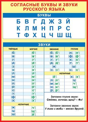 Плакат Согласные буквы и звуки русского языка А2 вертик