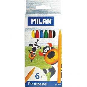 Карандаши восковые 6 цв пластиковые Milan