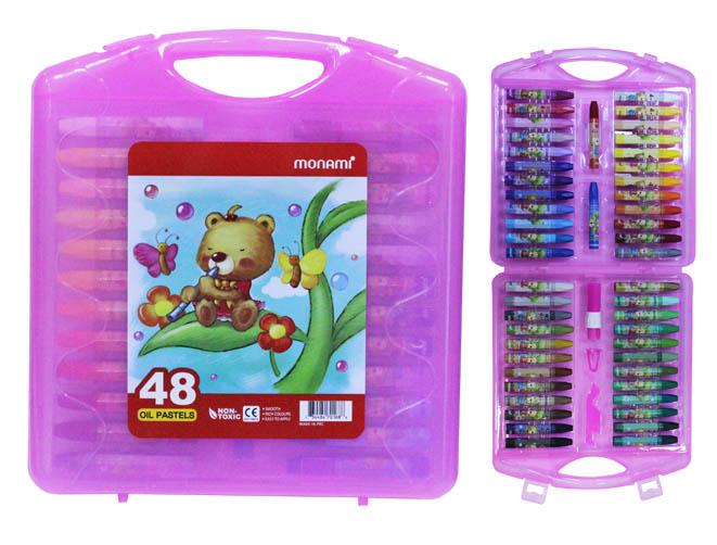Пастель масляная 48цв 50шт + 3 инструм Monami в розовом чемоданчике
