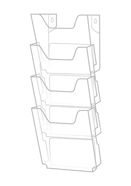 Каскад настенный А4 прозрачн пластик 4 отделения