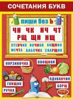 Плакат Сочетания букв ЧН ЧК НЧ... А2 вертик красно-желтый