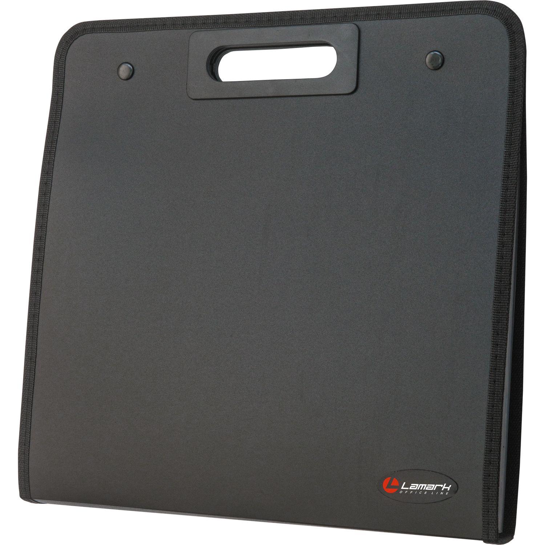 Портфель с ручкой 13 отд на кнопке Lamark пластик черный