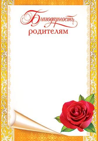 Открытка 9-02-570А Благодарность родителям! А4, желтая рамка, свиток, роза