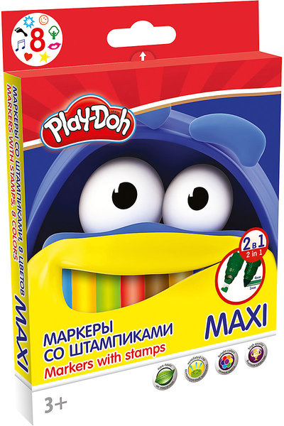 Фломастеры 8цв Play Doh Maxi двухсторонние со штампом к/к
