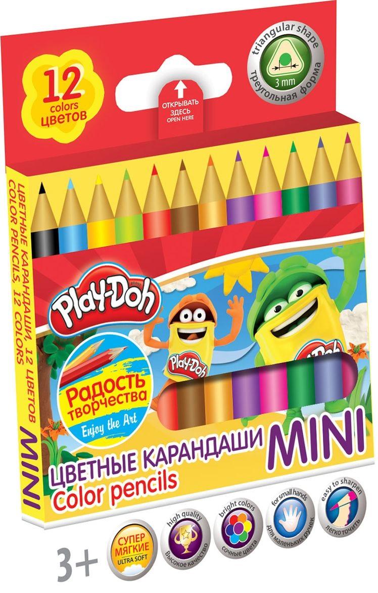Карандаши цветные 12 цв Play Doh треугольные мини к/к
