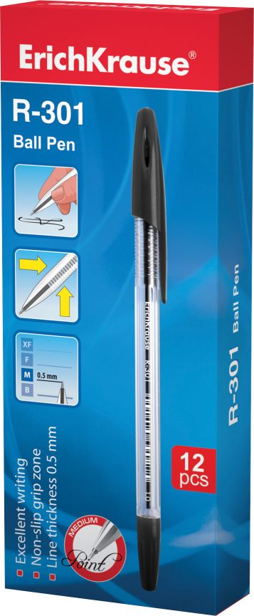 Ручка шариковая черная EK R-301 прозр корпус 1.0