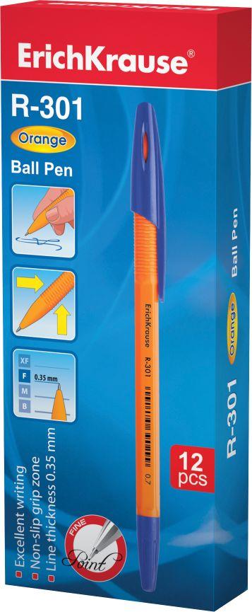 Ручка шариковая синяя EK R-301 оранж корпус 0.7