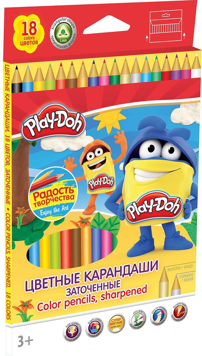 Карандаши цветные 18 цв Play Doh треугольные к/к