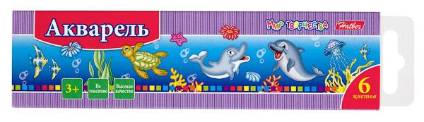 Краски 6цв Hatber Дельфины к/к б/к
