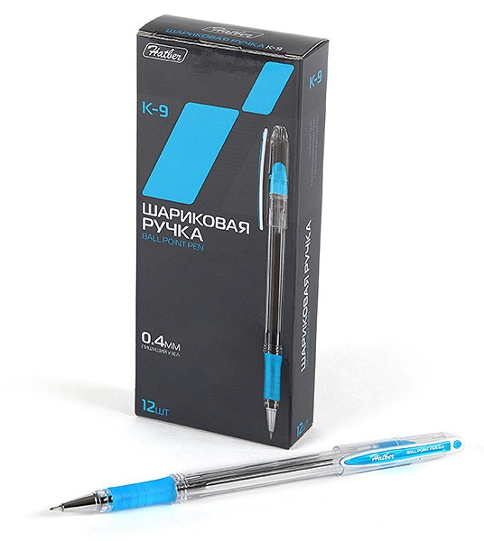 Ручка шариковая синяя Hatber К-9 0,4мм