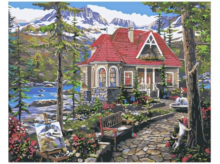 Творч Холст по номерам 40х50 Красивый дом в лесу