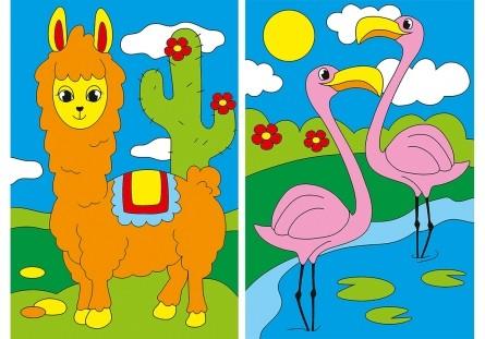 Творч Холст для рисования по номерам 10,2х15,2 Лама и фламинго с мини-мольбертом