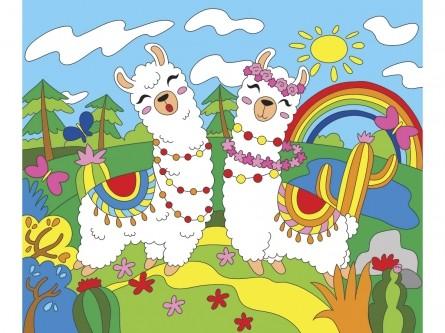 Творч Холст по номерам 25х30 Веселые ламы с красками