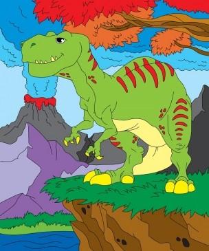 Творч Холст для рисования по номерам 25х30 Динозавр и вулкан
