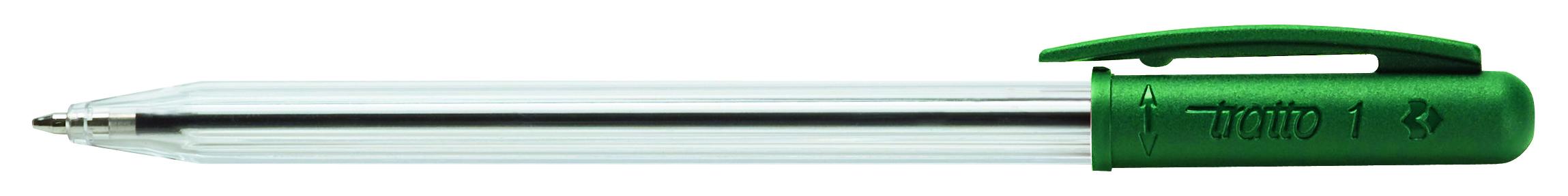 Ручка шариковая Tratto 1 зеленая поворот 1мм